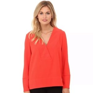 French Connection V-Neck Blouse Coral Red Orange